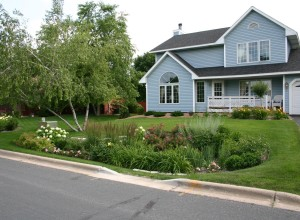 Example of a rain garden in a residential setting.